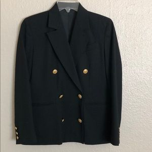 Vintage 100% Wool black blazer with gold buttons